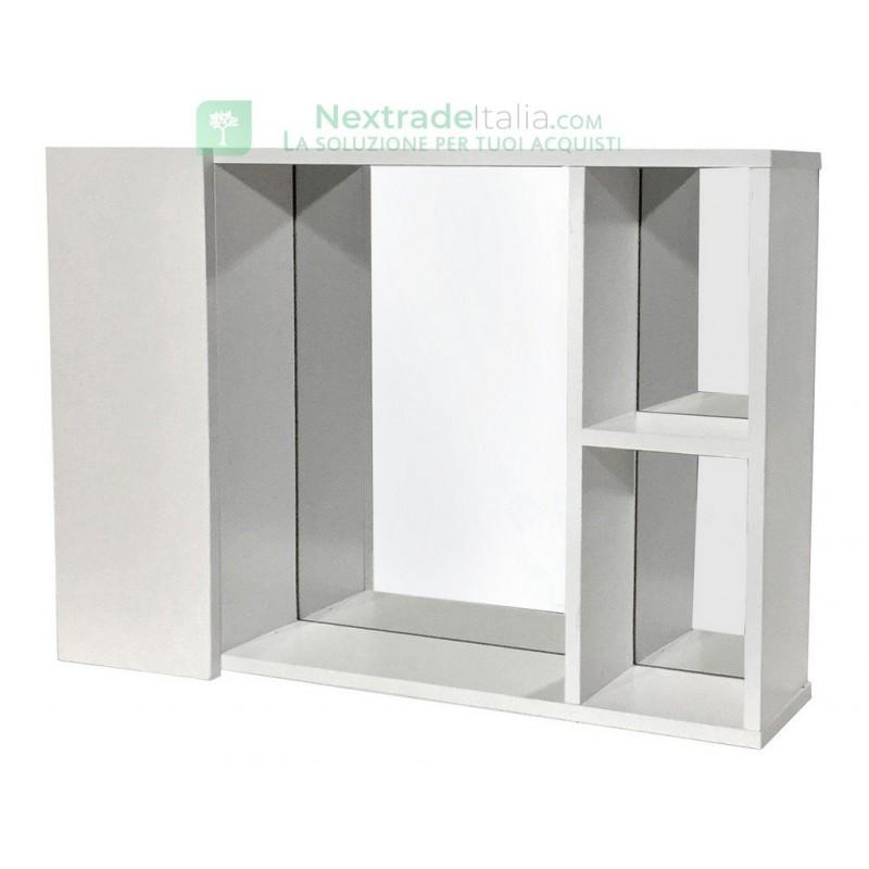Specchio Bagno Bianco.Kit Specchio Bagno 1 Anta Gin 1 Cm 60x13x41 Bianco